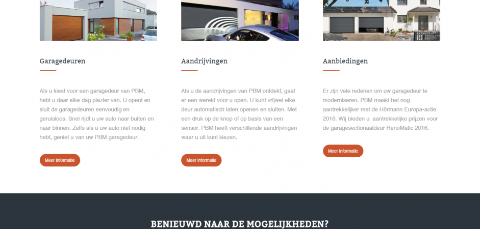 PBM Garagedeuren responsive WordPress website | Dualler